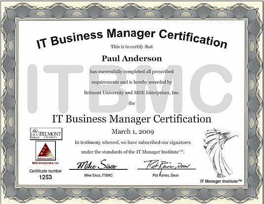 ITBMC certificate